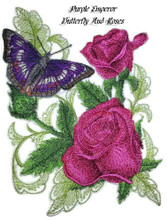 Purple Emperor Butterfly And Roses