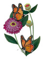 """Custom and Unique Large Copper Butterfly and Tulips) Blooms Flower Embroidered Iron on/Sew Patch [ 5.55""""(w) x 7.79""""(h) ] [Made in USA]"""