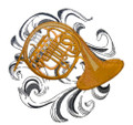 French Horn with Baroque Background