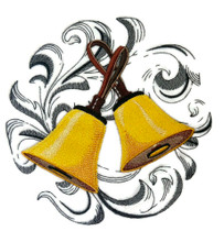 Hand bells with Baroque Background