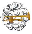Trumpet with Baroque Background