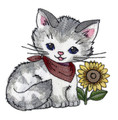 Kitty with Sunflower