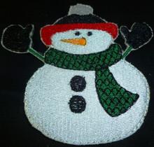 Snowman 3 embroidery applique patch