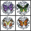 Beautiful Butterflies Embroidered Iron On Patch