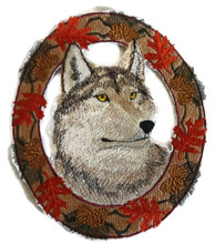 Wolf In Autumn Leaf Frame