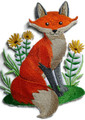 Fox With Flowers