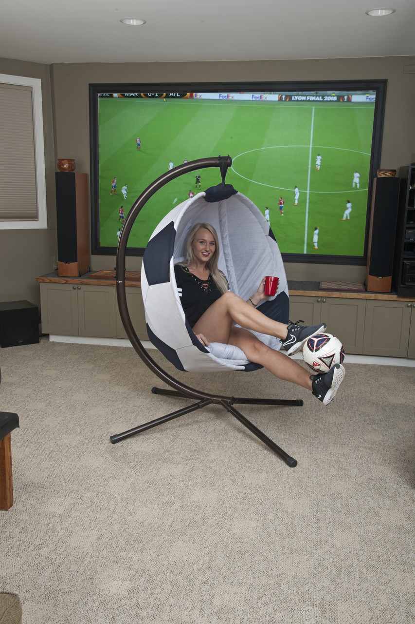 9227154df Soccerball Hanging Lounge Chair W/ Stand. Price: $568.75. Image 1. Larger /  More Photos