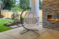 Hanging Egg Patio Chair W/Stand Branch Scratch & Dent