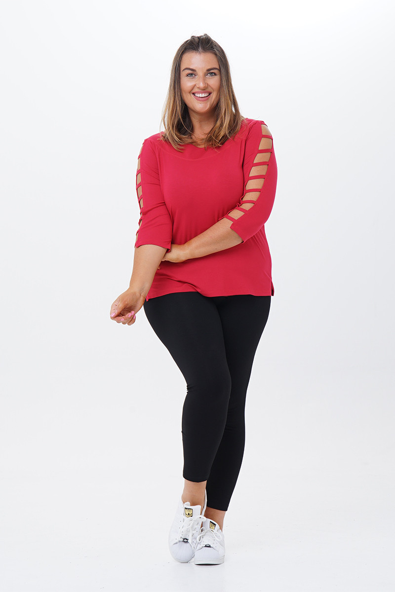 Zabrina Ladder Sleeves Top-Front View