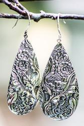 Repousse teardrop sterling silver earrings
