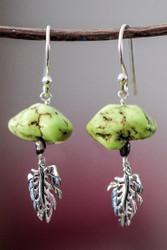 Turquoise & Monsteria sterling silver earrings