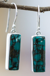 Turquoise earrings in sterling silver
