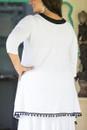V neck tunic with pom-pom - back view