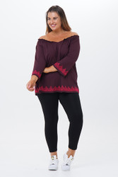 Embroidered 3/4 Sleeve Peasant Top