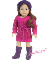 Hot Pink Sweater Dress With Purple Muff Headband