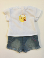 $9.99 Summer Sale! Emoji T- Shirt & Cut Off Shorts For Your American Girl Doll