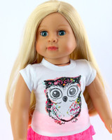 Glitter Owl T-Shirt for Your American Girl Doll