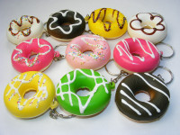 Squishy Donut Keyring. Assorted Colors Chosen Randomly.