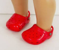 Red Croc Like Sandals for 18 inch American Girl Dolls