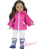 Pink Poncho and Rain Wellies For Your American Girl Doll