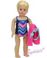 Trendy Bathing Suit Set with Goggles & Towel for American Girl Dolls