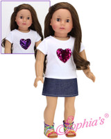 Hot Pink Changeable Heart Tee with Denim Skirt