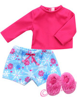 Star Print Fleece Pajamas Shorts, Tee & Slippers