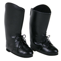 Black Lace Riding Boots for 18 inch American Girl Dolls