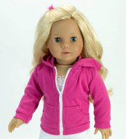Hot Pink Hooded Sweatshirt For Your American Girl Doll