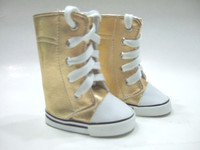 Gold Knee High Sneaker Boots for 18 inch American Girl Dolls