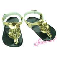Gold Metallic Thong Sandal for 18 in American Girl Dolls