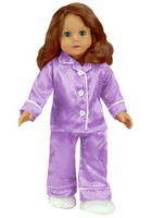 Lavender Satin Pajamas for 18 inch American Girl Dolls. Comes with Slippers.