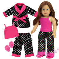 4 pc Black Polka Dot Pajamas Set for American Girl Dolls