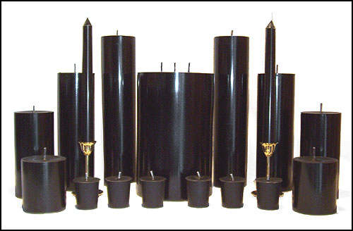 Black Candles, tapers, votives, talites, pillars and floaters