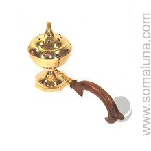 Large Brass Arabic Incense Burner with Handle
