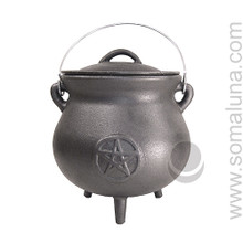 Quality Iron Pentacle Cauldron, 8 inch