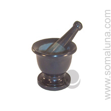 Black Grey Stone Mortar & Pestle, small