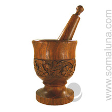 Wood Carved Mortar & Pestle