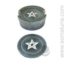 Carved Stone Pentagram Coasters