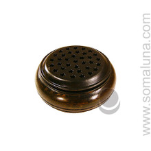 Dark Round Wooden Charcoal Burner