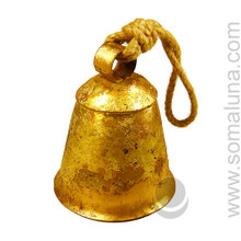 Rustic Tin Temple Bell with Rope, 6 inch