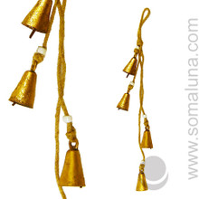 """Mongolian Copper Bells with Beads 17"""""""