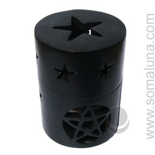 Black Pentagram Soapstone Incense Burner