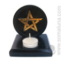 Pentagram Soapstone Candle Holder & Incense Burner