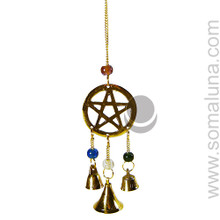 Brass Pentacle With Bells Wind Chime