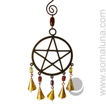 Iron Pentacle Wind Chime with Beads