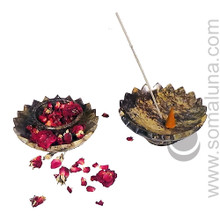 Lotus Flower Pedestal Soapstone Incense Burner