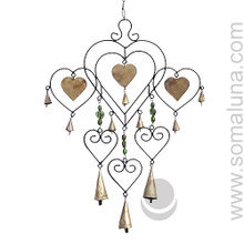 6 Heart with Glass Beads Iron Wind-chime