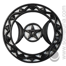 Large Black Wood Wall Triple Moon Pentacle