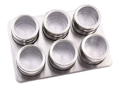 Magnetic Spice Jars (Set of 6) W/ Stand Up Base